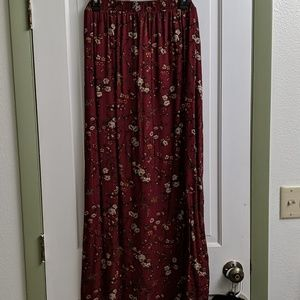 Red Floral Slit Maxi Skirt